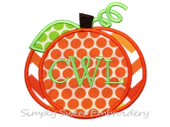 Monogram pumpkin machine embroidery by simplysweetembroider
