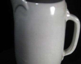 Vintage Frankoma Pottery Pitcher, large, white, TheRetroLife