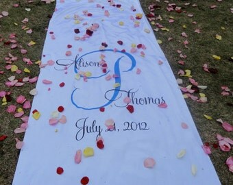 Wedding Monogram Aisle Runner Hand Painted Real Fabric Runner Ceremony Decor Isle Runner White Ivory Decoration