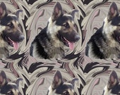 Unique fabric features a German Shepherd portrait in swirls of color