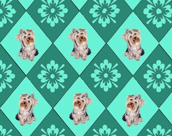 Yorkies and Diamonds cotton fabric