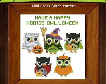 Hootie Owl-loween (Halloween) Cross Stitch PDF