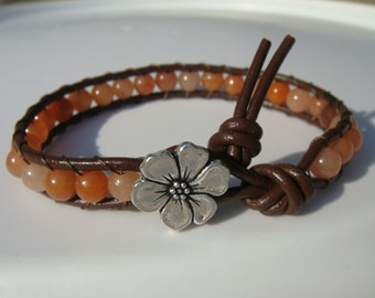 Red Aventurine Beaded Leather Bracelet with Flower Button