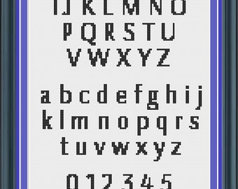 Cross Stitch Alphabet Pattern Gunner font (LG0002)