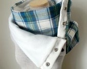 Unisex - Cream Blue and Green Plaid Snap Scarf