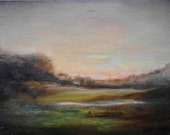 Original Tonalist Landscape Oil Painting on wood panel by New York Artists Woodie Webber.