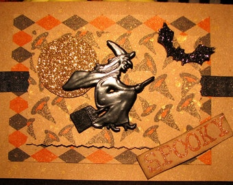 Halloween Card, With Vintage Witch Figure and Black Glittered Bat