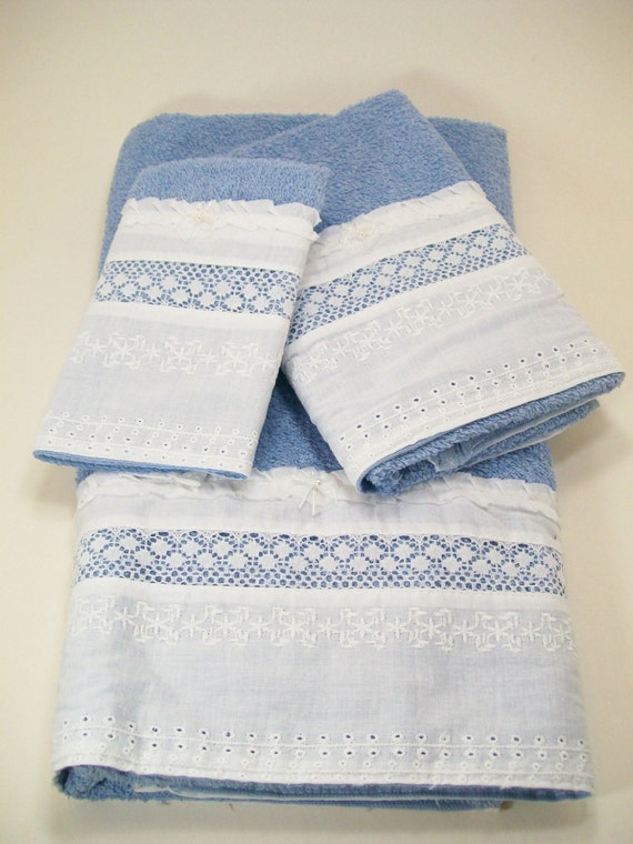 Blue Towels For Bathroom Small: Bath Guest Towels Hostess Hand Embellished Blue White Eyelet