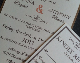 Modern style but vintage look wedding invitation Copy