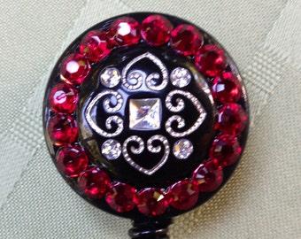 Security Badge Lanyard - Precious Red - Decorated ID Badge Retractable Lanyard Reel - Rhinestone ID Card Holder - Name Badge Belt Clip