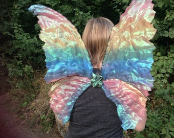 Beautiful Unique Adult Rainbow Fairy Wings with Iridescence