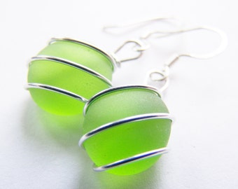 Sea Glass Bridesmaids sets - Tropical Green Earrings - Glass Pearl - Other Colors Available - Weddings - affordable - seaside
