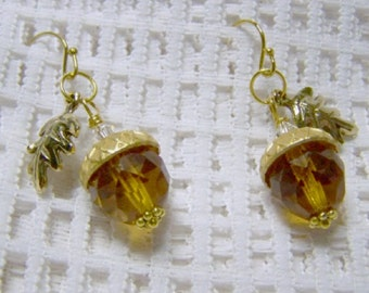 Amber Acorn and Leaf Earrings - Faceted Crystal - Acorn earrings - Autumn Earrings - Fall Wedding - Woodland Wedding