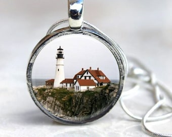 Maine Lighthouse Pendant - Round Silver - Nautical - Portland Head Light