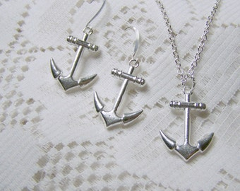 ANCHOR Earrings AND Necklace, Silver plated large anchor, Large Dimensional Anchor Set, Anchor Jewelry, Sorority symbol, Nautical gift set
