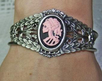 Gothic Lolita Cuff Bracelet - Antiqued Silver Filigree - Gothic Lolita - Skeleton Bracelet - Steampunk - Lady Death