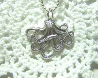 Baby Octopus Necklace - Silver - Steampunk - Jules Verne - The Kraken