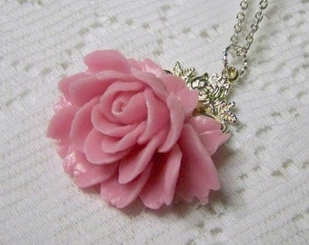 Cabbage Rose Necklace - Pink and Silver - Long Silver Chain- Large Rose Flower - Bridesmaids - Shabby Chic - Cottage Rose