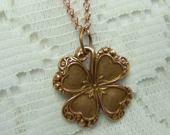 Rose Gold CLOVER Necklace, Lucky Charm, Irish jewelry, four leaf clover, LUCKY SHAMROCK pendant - Saint Patrick's Day - Lucky Charm - 4 Leaf