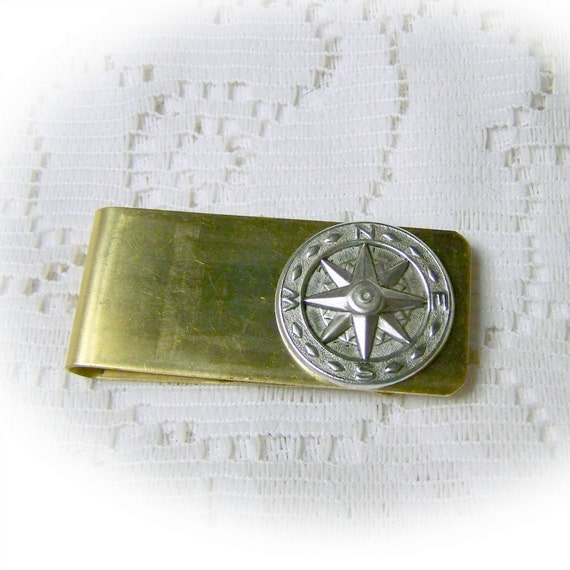 COMPASS ROSE Money Clip - Vintage Brass - Nautical Money Clip