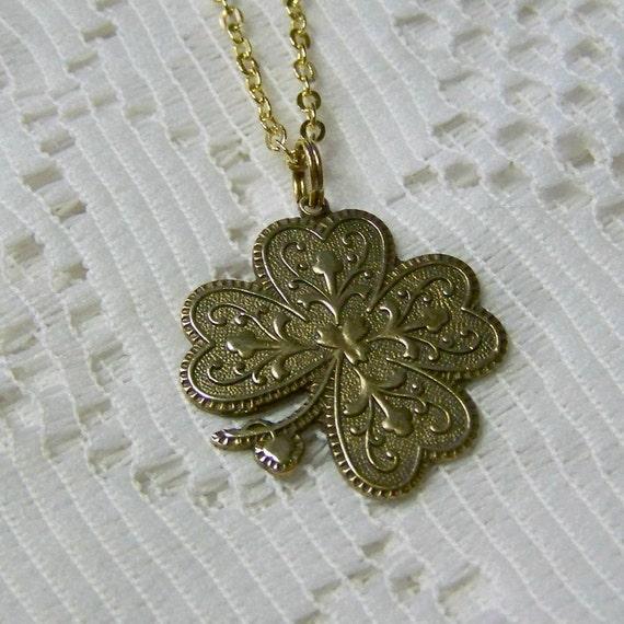 Antiqued Gold 4 Leaf Clover Necklace - LUCKY Charm - Shamrock - Irish Jewelry - Irish Wedding - Saint Patrick's Day - Lucky Four Leaf Clover