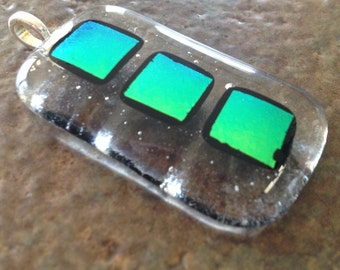 Clear and Green Dichroic Glass Pendant