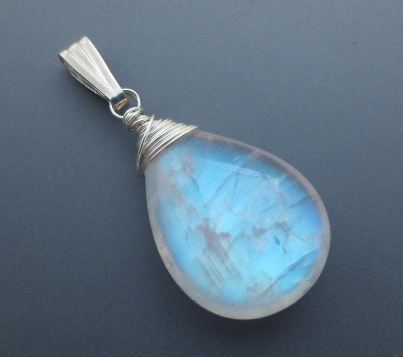 aaa rainbow moonstone gemstone sterling pendant ee designs