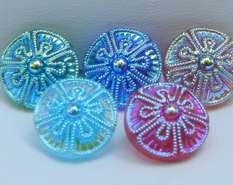 Sweet Little Czech Glass Buttons (5)
