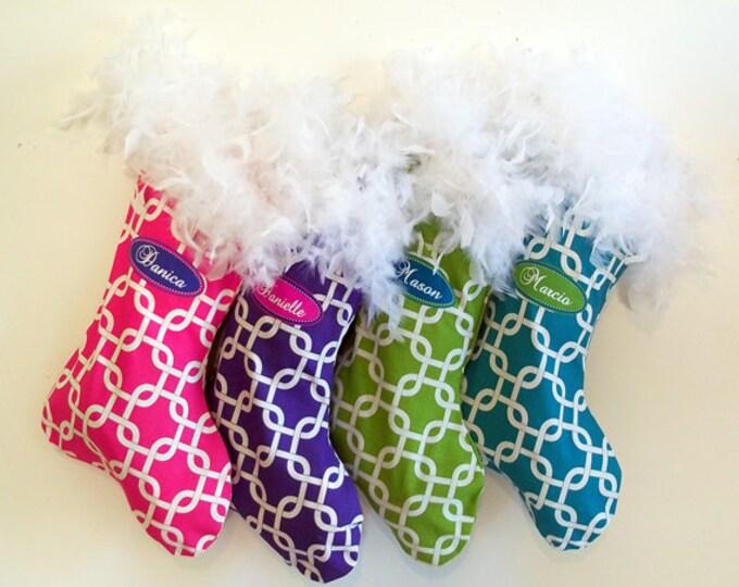 Christmas Stockings, 4 custom holiday stockings, personalized custom christmas decorations, polka dots, chevrons, matching family stockings