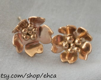 Handmade 10k Gold Cherry Blossom Post Earrings with 10k Gold Balls in Center