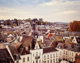 France Photography, Rustic Rooftops, Fall Colors, Autumn, French Country Home Decor - Amboise