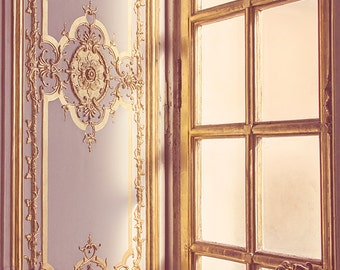 Golden Versailles Window Photograph, Paris Photography, Paris Decor, Paris Print, Gold Morning Sunlight, Paris Travel Decor - Morning