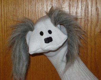 Dog with grey furry ears moveable mouth Sock Puppet from Puppets by Margie