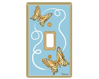 Blue Light Switch with Butterflies