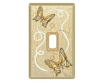 Beige Light Switch with Butterflies