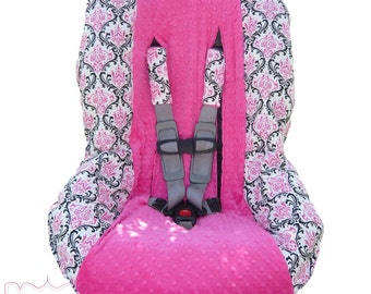 Madison Pink and Black with Hot Pink Toddler Car Seat Cover