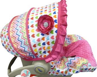Infant Carseat Cover Remix Bright Hearts and Chevron