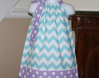 custom made aqua blue chevron Pillowcase dress purple polka dots baby girls riley blake toddler dress size newborn thru 4t