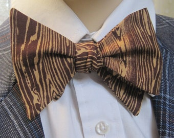 Wood Grain Bow Tie