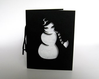 Snowman Holiday Greeting Card - Winter Silhouette in Cut Paper