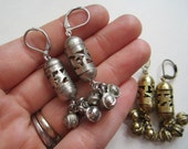 Open Lantern Earrings with Bells - You Pick Gold or Silver - Openwork Lanterns with Tiny Bells Beneath