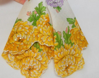 Vintage Bridal Handkerchief with Lavender, Yellow, Gold and touches of a carnation pink with golden sparkles.