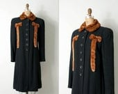 vintage 1930s coat / 30s coat / black wool and fur coat / the Printzess coat