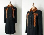 vintage 1930s coat / 30s coat / black wool and fur coat / the Printzess coat