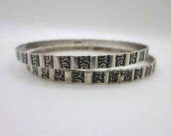 SALE Set of Two Patterned Vintage Danecraft Sterling Silver Bangle Bracelets