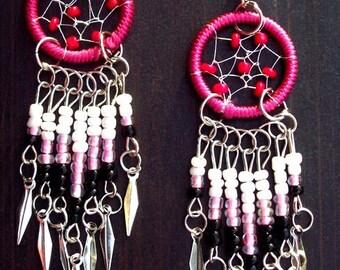 Dream catcher earrings beaded in pink, red, black, white, and silver, dreamcatcher earrings silver pink