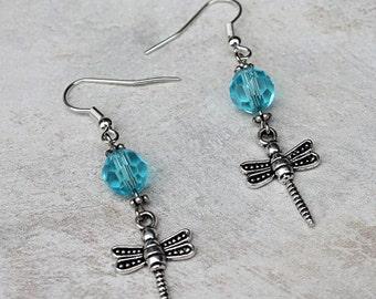 Dragonfly Earrings, Handmade Womens Jewelry, Crystal Earrings