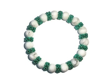 Bracelet White Turquoise Emerald Green snowflake beads  Bubble stretchy bangle Adjustable hand Made in UK bt Frutti Tutti Bead Candy