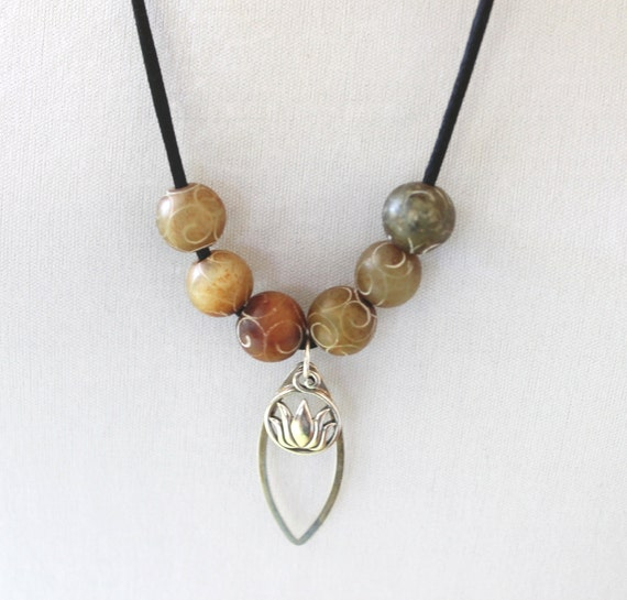 Sterling Lotus Pendant Necklace with Tibetan Agate