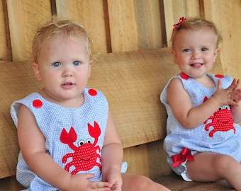 Brother and Sister, Blue Gingham Bubbles or Rompers with Red Crab Applique, sizes 3 through 24mos